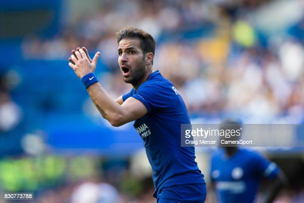Chelsea's Cesc Fabregas reacts to being shown a red card during the Premier League match between Chelsea and Burnley at Stamford Bridge on August 12...