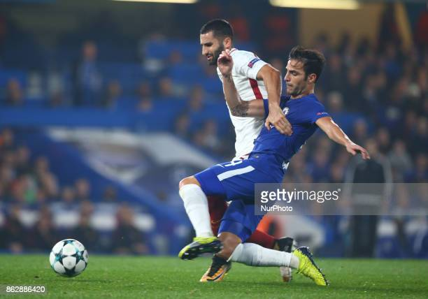 Chelsea's Cesc Fabregas tackles Aleksandar Kolarov of Roma during UEFA Champions League Group C MATCH 3 match between Chelsea against AS Roma at...
