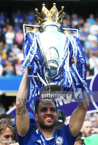 Chelsea's Cesc Fabregas with Trophy during the Premier League match between Chelsea and Sunderland at Stamford Bridge London England on 21 May 2017