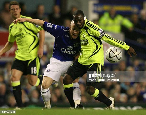 Chelsea's Claude Makelele and Everton's Andrew Johnson battle for the ball