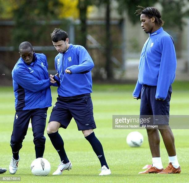 Chelsea's Claude Makelele Mateja Kezman and Didier Drogba in action