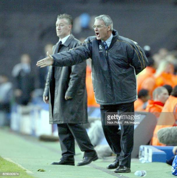 Chelsea's Claudio Ranieri and Monaco's Didier Deschamps on the touchline during their UEFA Champions League semifinal 2nd leg game at Stamford Bridge...