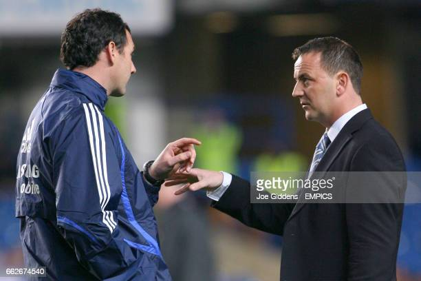 Chelsea's Coach Paul Clement and Chelsea's Academy Manager Neil Bath during training