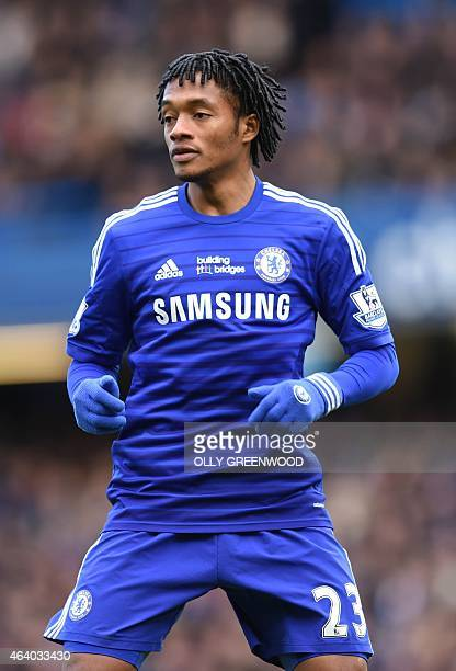 Chelsea's Colombian midfielder Juan Cuadrado in action during the English Premier League football match between Chelsea and Burnley at Stamford...