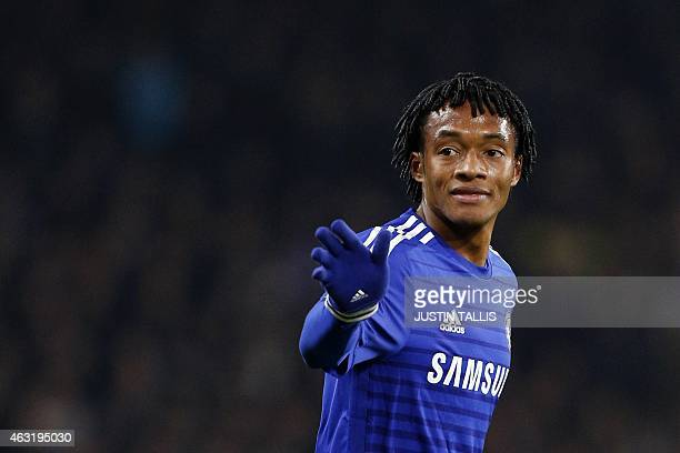 Chelsea's Colombian midfielder Juan Cuadrado looks on during the English Premier League football match between Chelsea and Everton at Stamford Bridge...