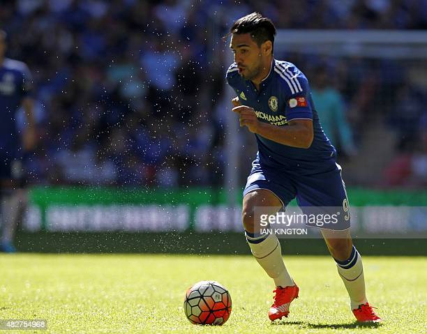 Chelsea's Colombian striker Radamel Falcao runs with the ball during the FA Community Shield football match between Arsenal and Chelsea at Wembley...