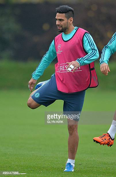 Chelsea's Colombian striker Radamel Falcao takes part in a team training session at Chelsea's training ground in Cobham in south west London on...
