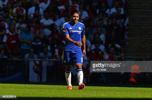 Chelsea's Colombian striker Radamel Falcao walks in the sunlight during the FA Community Shield football match between Arsenal and Chelsea at Wembley...