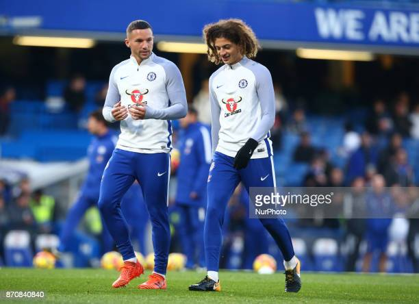 LR Chelsea's Danny Drinkwater and Chelsea's Ethan Ampadu during the prematch warmup during the Premier League match between Chelsea and Manchester...