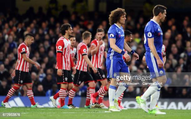 Chelsea's David Luiz and Cesar Azpilicueta dejected as Southampton's Oriol Romeu scores his sides equalising goal during the Premier League match...