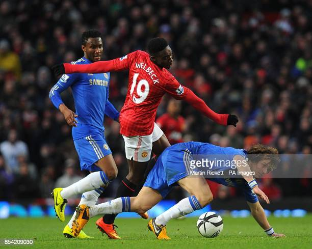 Chelsea's David Luiz and Manchester United's Danny Welbeck battle for the ball