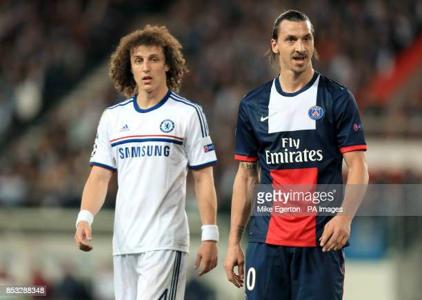 Chelsea's David Luiz and PSG's Zlatan Ibrahimovic