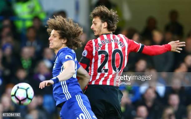 LR Chelsea's David Luiz and Southampton's Manolo Gabbiadini during the Premier League match between Chelsea and Southampton at Stamford Bridge London...