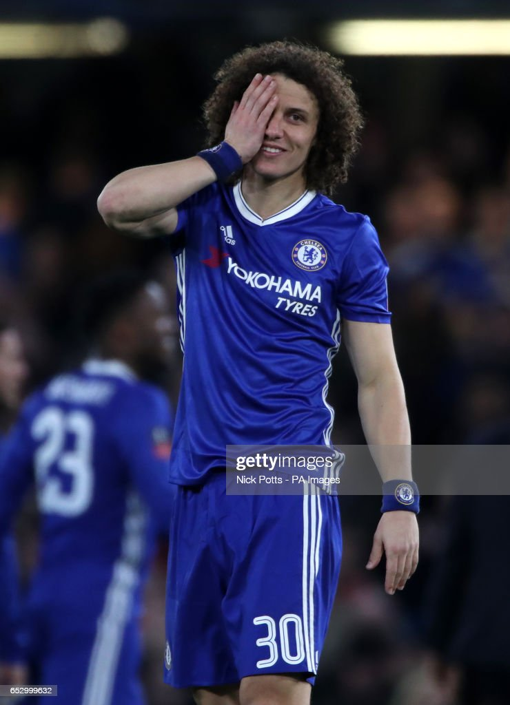 Chelsea's David Luiz celelbrates at full time after the Emirates FA Cup, Quarter Final match at Stamford Bridge, London.