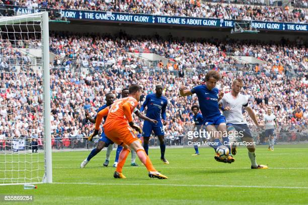 Chelsea's David Luiz clears under pressure from Tottenham Hotspur's Eric Dier during the Premier League match between Tottenham Hotspur and Chelsea...
