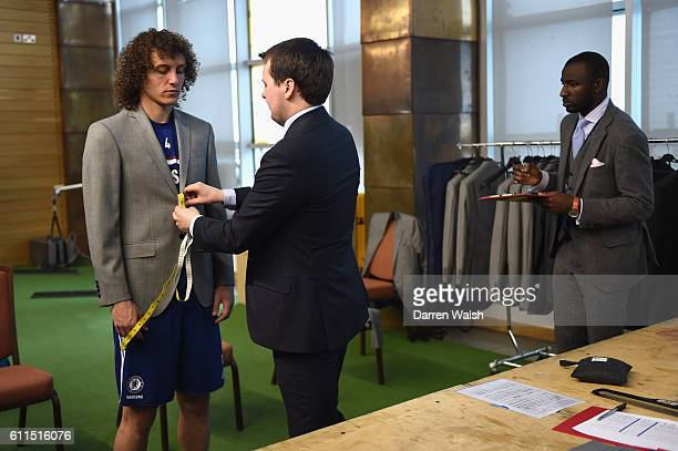Chelsea's David Luiz during a Hackett suit fitting at the Cobham Training Ground on 11th April 2014 in Cobham England THIS CONTENT IS PART OF A...