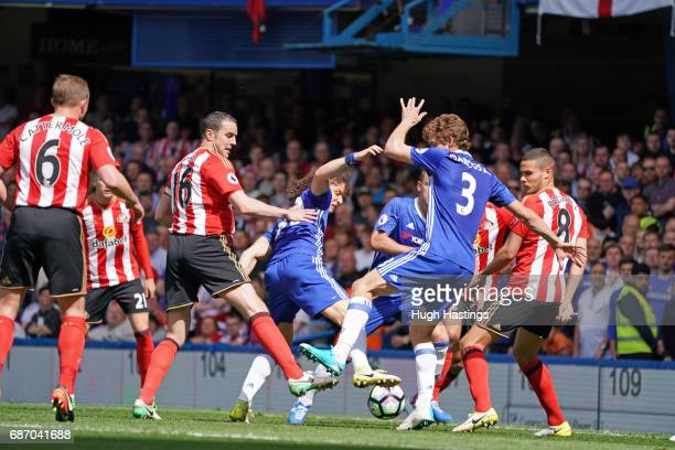 Chelsea's David Luiz John Terry and Marcos Alonso during the Premier League match between Chelsea and Sunderland at Stamford Bridge on May 21 2017 in...