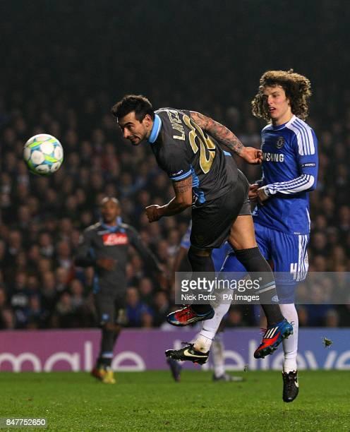 Chelsea's David Luiz looks on as Napoli's Ezequiel Lavezzi has a chance on goal