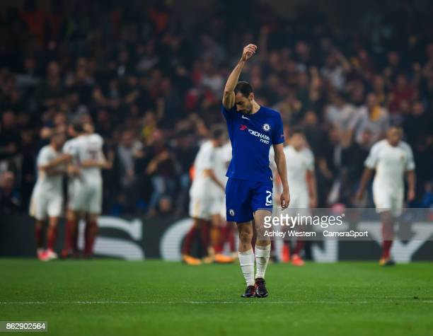 Chelsea's Davide Zappacosta dejected as Roma's Edin Dzeko scores his side's third goal during the UEFA Champions League group C match between Chelsea...