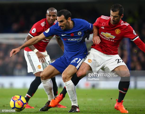 LR Chelsea's Davide Zappacosta holds of Manchester United's Henrikh Mkhitaryan during the Premier League match between Chelsea and Manchester United...