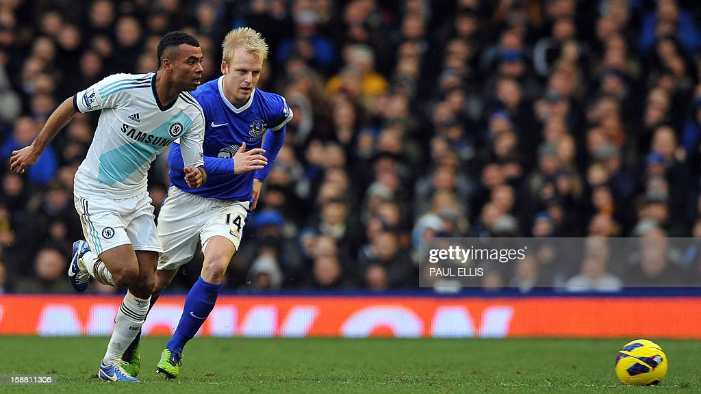 Chelsea's defender Ashley Cole (L) is challenged by Everton's Scotish striker Steven Naismith during the English Premier League football match between Everton and Chelsea at Goodison Park in Liverpool, England, on December 30, 2012. Chelsea won the match 2-1. AFP PHOTO/PAUL ELLIS PUBLICATIONS