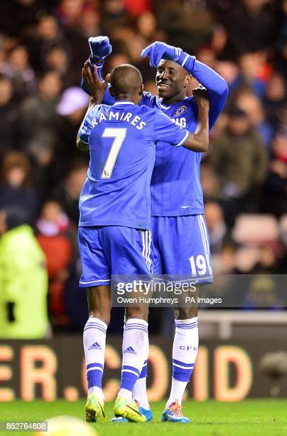 Chelsea's Demba Ba and Nascimento Ramires celebrate after Sunderland's Phil Bardsley scores an own goal
