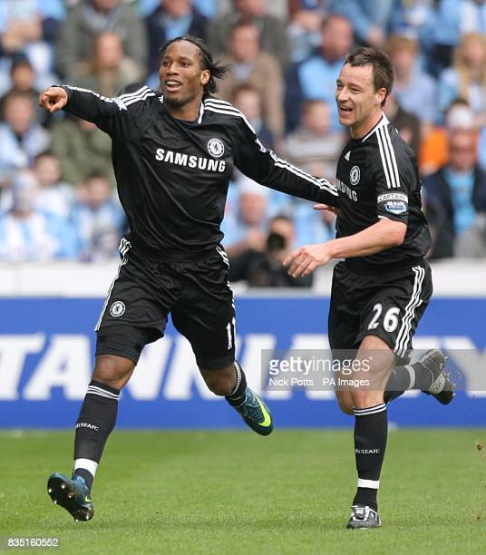 Chelsea's Didier Drogba celebrates scoring his sides first goal with teammate John Terry