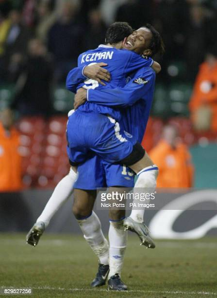 Chelsea's Didier Drogba celebrates with Mateja Kezman after defeating Liverpool