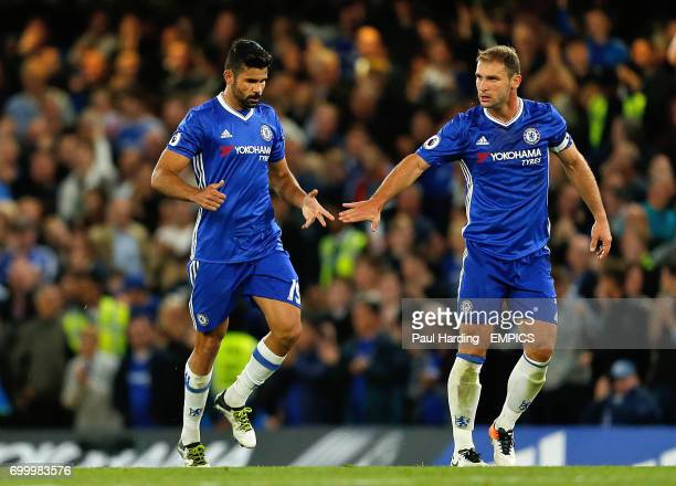 Chelsea's Diego Costa after scoring his side's first goal with teammate Branislav Ivanovic