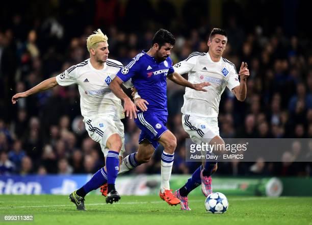 Chelsea's Diego Costa and Dynamo Kiev's Aleksandar Dragovic and Yevhen Khacheridi battle for the ball