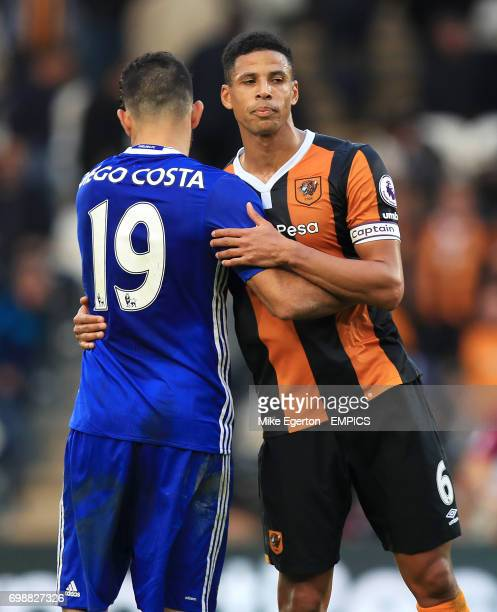Chelsea's Diego Costa and Hull City's Curtis Davies after the game