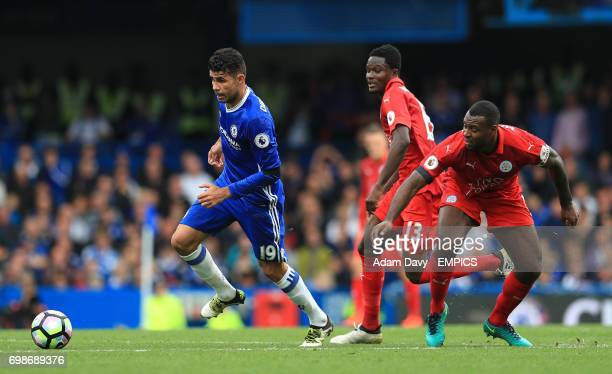 Chelsea's Diego Costa and Leicester City's Wes Morgan battle for the ball