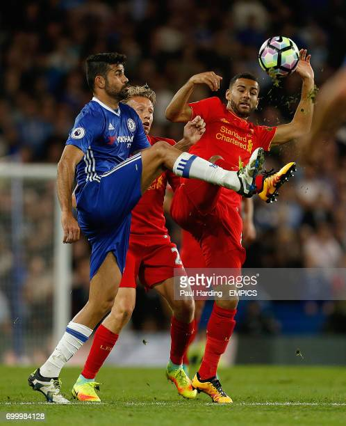 Chelsea's Diego Costa and Liverpool's Kevin Stewart battle for the ball
