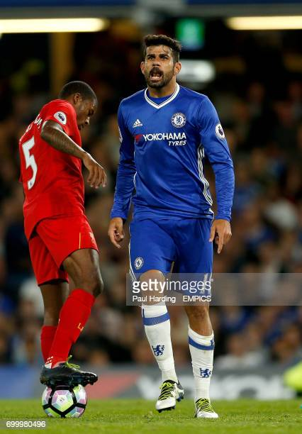 Chelsea's Diego Costa appeals to the linesman