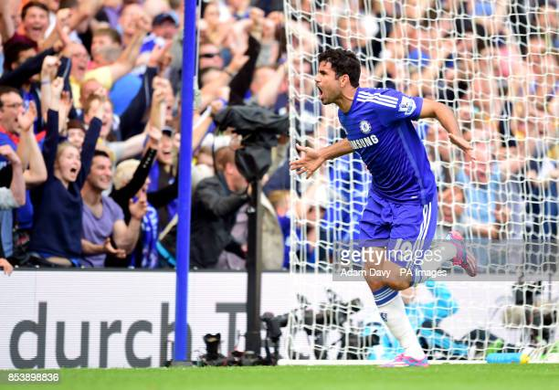 Chelsea's Diego Costa celebrates scoring the opening goal of the game during the Barclays Premier League match at Stamford Bridge London