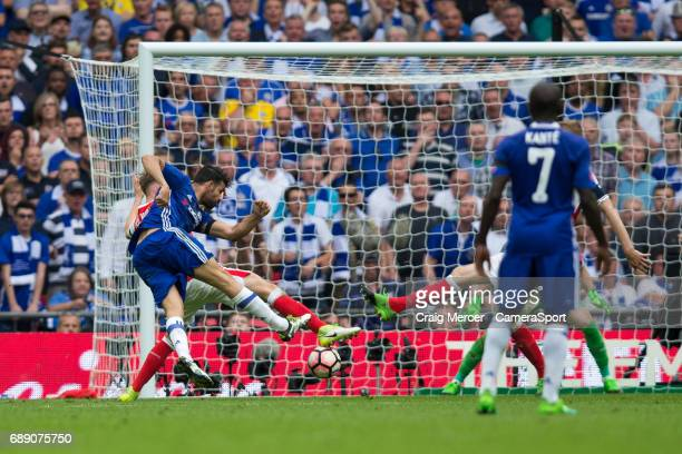 Chelsea's Diego Costa scores his sides equalising goal to make the score 11 during the Emirates FA Cup Final match between Arsenal and Chelsea at...