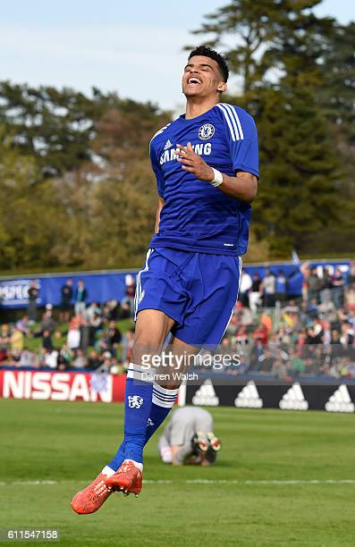 Chelsea's Dominic Solanke celebrates scoring his side's second goal of the game
