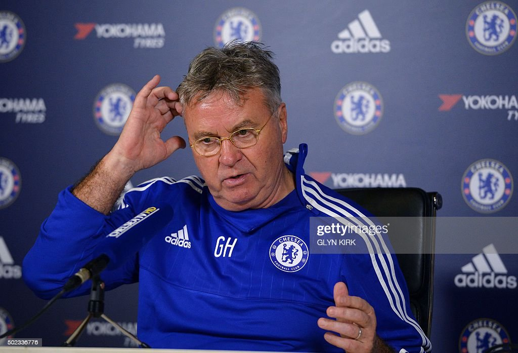 Chelsea's Dutch interim manager Guus Hiddink hosts a press conference at the club's training ground in Cobham south west London on December 23 ahead...