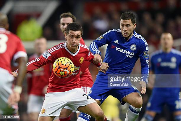 Chelsea's Eden Hazard and Manchester United's Ander Herrera battle for the ball