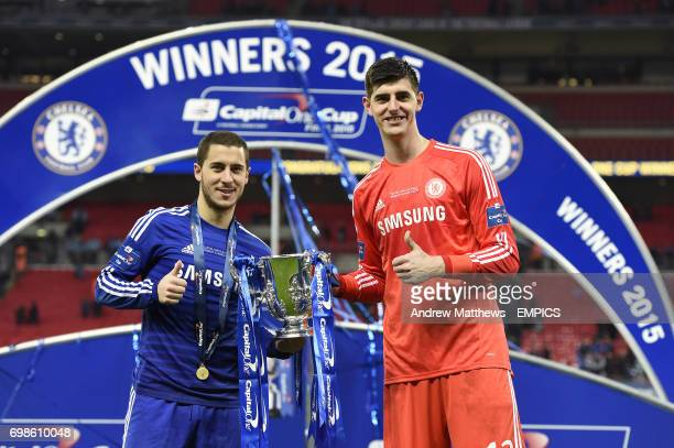 Chelsea's Eden Hazard and Thibaut Courtois with the Capital One Cup