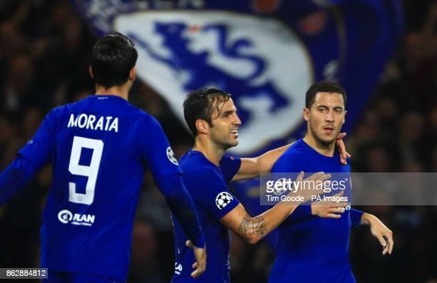 Chelsea's Eden Hazard celebrates scoring his side's second goal of the game during with Cesc Fabregas and Alvaro Morata the UEFA Champions League...
