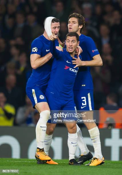 Chelsea's Eden Hazard celebrates scoring his side's third goal during the UEFA Champions League group C match between Chelsea FC and AS Roma at...