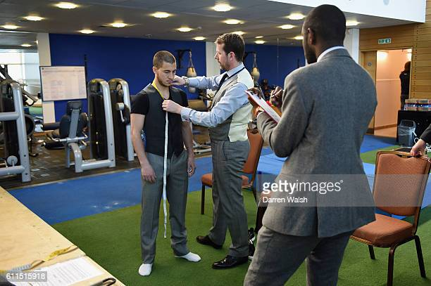 Chelsea's Eden Hazard during a Hackett suit fitting at the Cobham Training Ground on 11th April 2014 in Cobham England THIS CONTENT IS PART OF A...