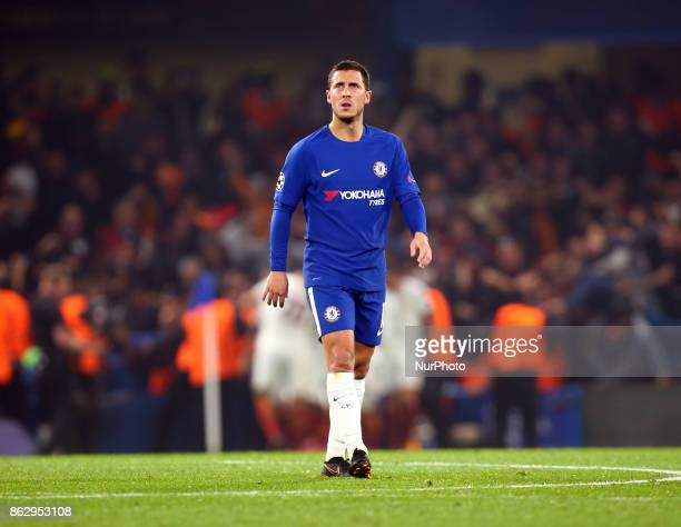 Chelsea's Eden Hazard during UEFA Champions League Group C MATCH 3 match between Chelsea against AS Roma at Stamford Bridge London on 18 Oct 2017