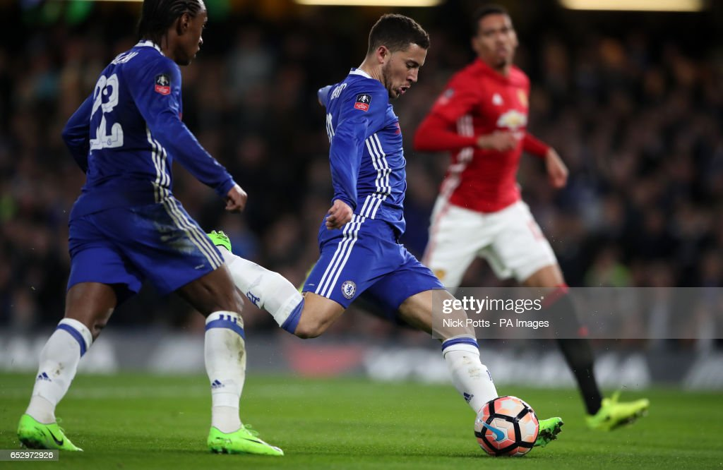 Chelsea's Eden Hazard has a shot on goal during the Emirates FA Cup, Quarter Final match at Stamford Bridge, London.