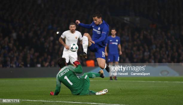 Chelsea's Eden Hazard is foiled by Roma's Alisson Becker during the UEFA Champions League group C match between Chelsea FC and AS Roma at Stamford...