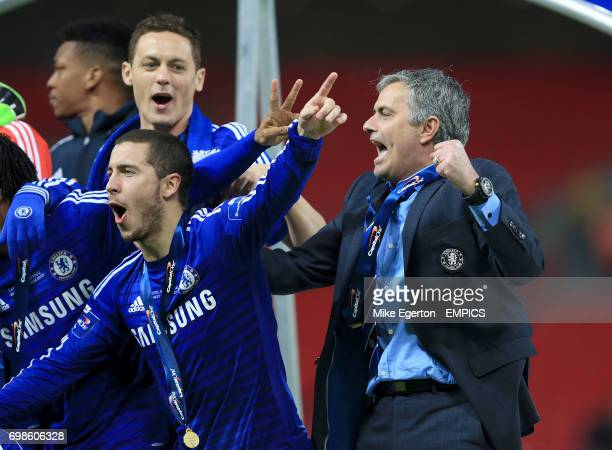 Chelsea's Eden Hazard Nemanja Matic and manager Jose Mourinho celebrate after victory in the final