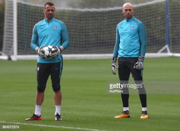 LR Chelsea's Eduardo and Chelsea's Willy Caballero during Chelsea Training session priory to they game against Atlético Madrid at Chelsea Training...