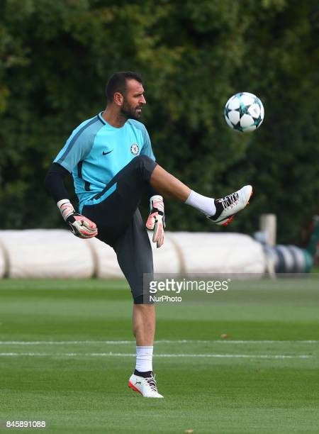 Chelsea's EDUARDO during Chelsea Training session priory to they game against FK Qarabag at Cobham Training Ground on September 11 2017 in Cobham...