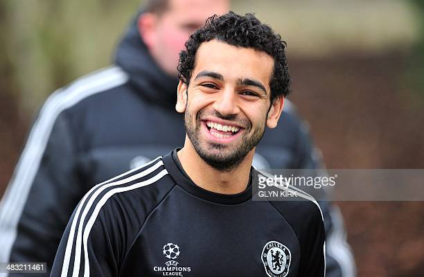 Chelsea's Egyptian midfielder Mohamed Salah arrives to attend a training session at Chelsea's training ground at Cobham Southwest of London England...